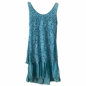 New Collection Teal Lace Layered Boho Dress